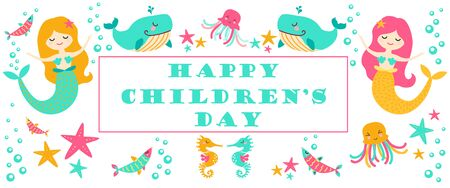 Happy Children's Day for an international children's holiday. Vector illustration. Poster. Banner.