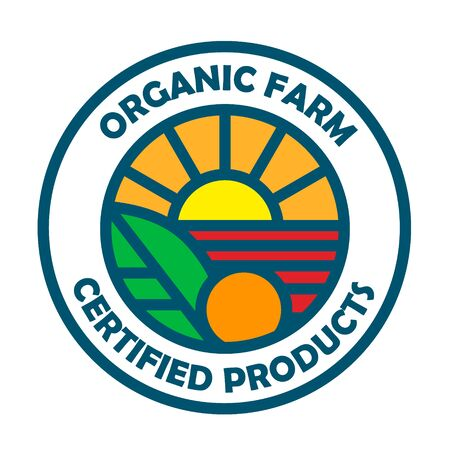 Organic farm logo template, certified products stamp. Illustration