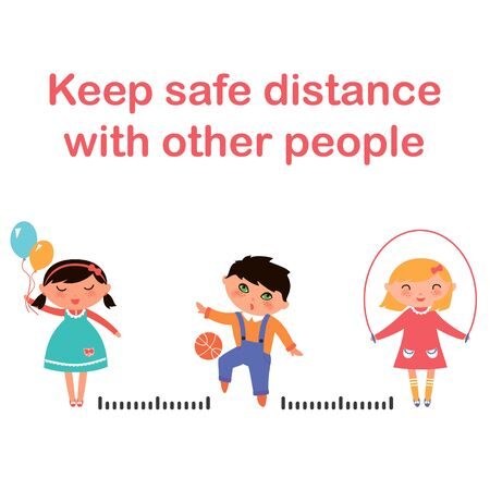 Social distancing vector icon, keep safe distance in public society people to protect from COVID-19 coronavirus outbreak spreading concept Illustration