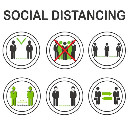 Social distancing vector icons set, keep distance in public society people to protect from COVID-19 coronavirus outbreak spreading concept