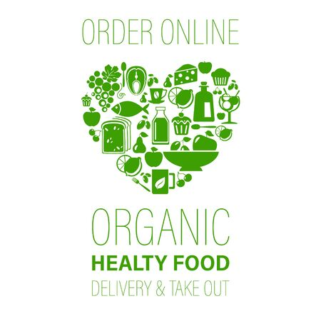 Order online organic healthy food vector illustration. Heart shape with organic food icons: vegetables, fruits, fish, greens.