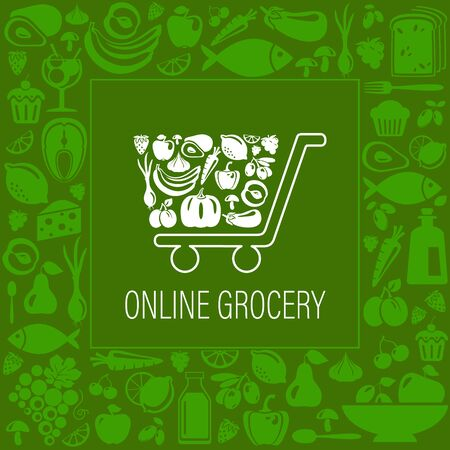 Vector Online grocery concept illustration.