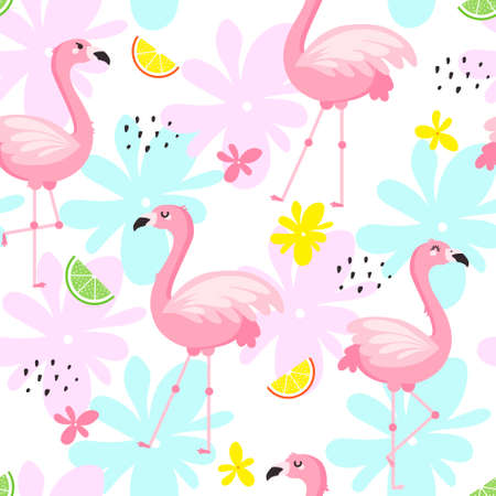 Pink flamingo vector seamless pattern design for fabric, textile and decor.