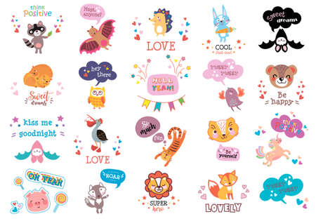 Collection of cute hand drawn think and talk funny speech bubbles. Dream and discover set. Bright adventure theme design. For anniversary, birthday, party invitations, scrapbooking, T-shirt, cards, stickers. Vector illustration. Illustration