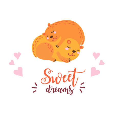 Two cute marmots sleeping in an embrace. Sweet dreams quote. Illustration for poster, birthday, party invitations, scrapbooking, T-shirt, cards, stickers. Vector illustration