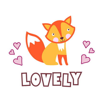Cute baby fox with funny text Lovely. Collection of hand drawn cute animals with speech bubbles end messages for birthday, party invitations, scrapbooking, T-shirt, cards, stickers. Vector illustration