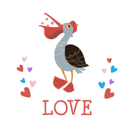 Ð¡ute pelican Love. Illustration for poster, birthday, party invitations, scrapbooking, T-shirt, cards, stickers. Vector illustration