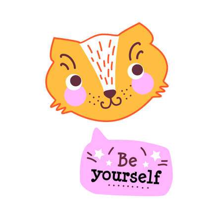 Cute baby cat, with funny text Be yourself. Collection of hand drawn cute animals with speech bubbles end messages for anniversary, birthday, party invitations, scrapbooking, T-shirt, cards, stickers. Vector illustration Illustration