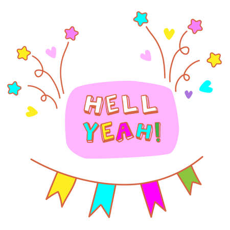 Hell yeah! Funny birthday card vector illustration