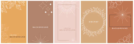 Vector design templates in simple modern style with copy space for text, stars and leaves - invitation backgrounds and frames, social media stories wallpapers