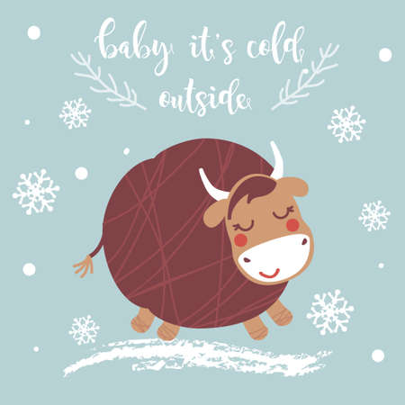 Baby it's cold outside Christmas card. Illustration