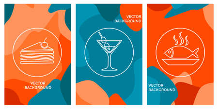 Simple Set of Food and Drink Restaurant Related Vector Line Icons Logo on bright background. Orange and Blue. Cocktail, cake, fish Illustration