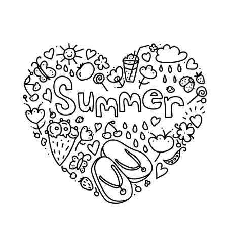 Summer black hand drawn heart thin line postcard isolated on white background. Seasonal greeting with word Summer. Doodle summer card with floral elements, flowers, sun, bird, clouds, leaves. Vector.