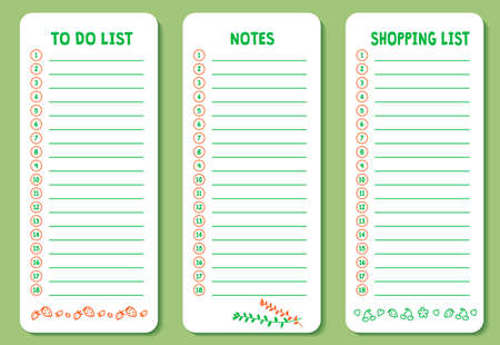 Set of to do list, shopping and notes list with cute doodle icons. Works well as planner, organizer, market list, to do list. Vector background. Business or education shedule page. Illustration