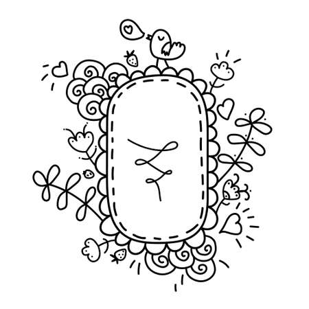 Cute Hand drawn Doodle floral frame isolated on white background for your Design. Bullet journal Ideas. Girly Stuff. Illustration