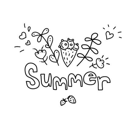 Seasonal greeting with word Summer. Doodle summer card with ice cream cone, hearts, floral elements, flowers, leaves, berries, Vector illustration