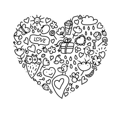 Cartoon cute doodles hand drawn Valentines Day heart frame design. Line art detailed, with lots of objects background. Funny vector illustration. Sketchy border with Love theme items Illustration