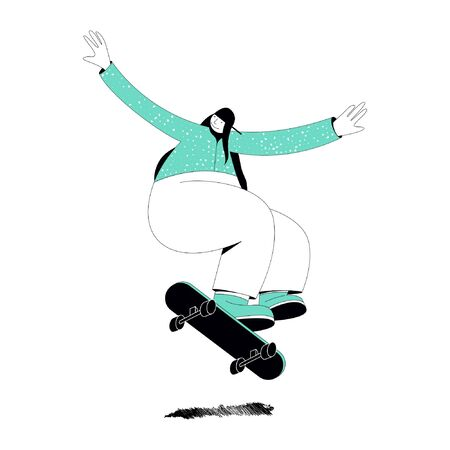 Illustration on a white background on which a girl in a green sweater and green gym shoes with big arms and legs jumps on a skateboard Иллюстрация