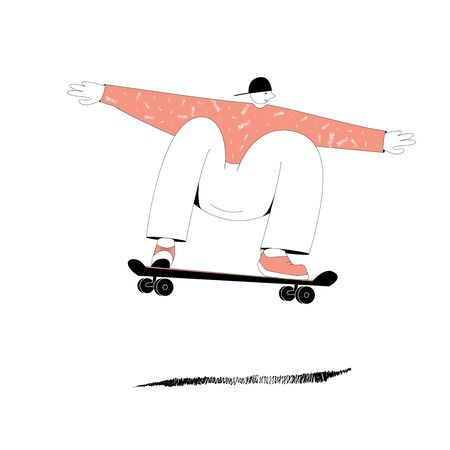 The illustration on a white background on which a man in a blue sweater and blue gym shoes with big arms and legs rides with his legs bent on a skateboard Иллюстрация