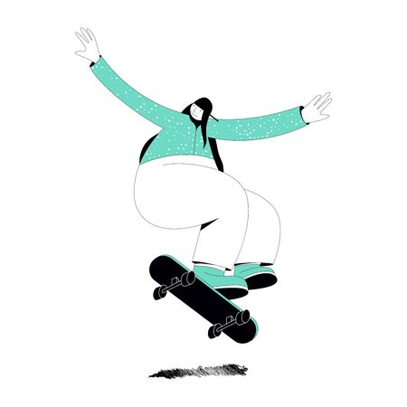 Illustration on a white background on which a girl in a green sweater and green gym shoes with big arms and legs jumps on a skateboard