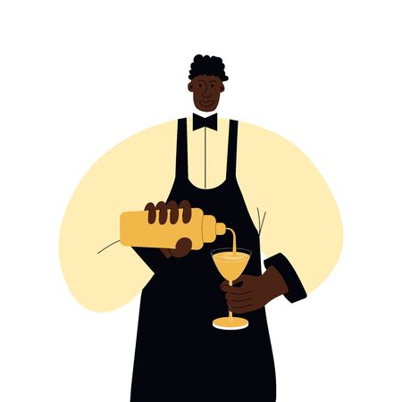 a dark-skinned barman in a yellow shirt and black apron pours a cocktail into a glass. Vector illustration in vlet style Vektorové ilustrace