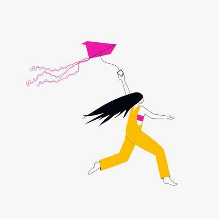 girl in orange overalls runs with a kite in his hand. Hair is flying in the wind. Vector concept with flat style Ilustração