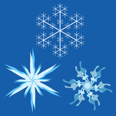 Set of 3 different styled Snowflakes Vector