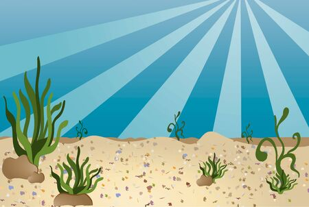 Sea bottom illustration in a cartoon like style Vector