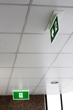green exit emergency sign: fire exit sign