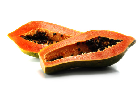 riped: papaya riped on white background Stock Photo