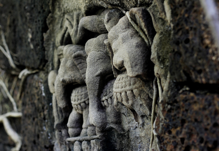 ancient elephant: ancient elephant carving on the wall