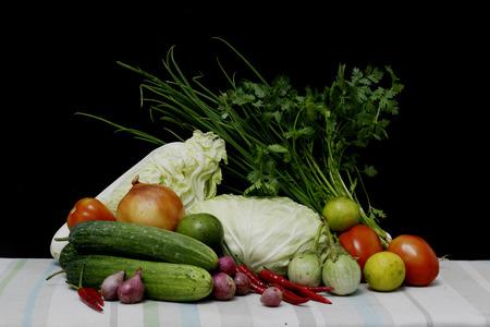légumes thaïlandais a mis encore le style de vie Banque d'images