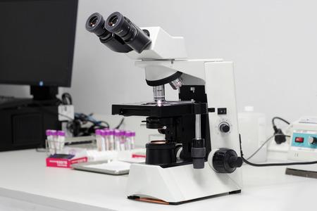 biopsy: microscope in lab Stock Photo