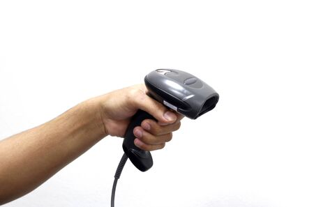 scaner: person hands with barcode scanner