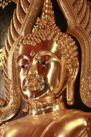 loei: head of golden buddha statue in Loei province,Thailand Stock Photo