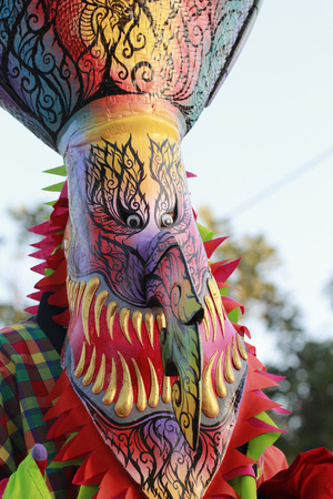 loei: close up of ghost mask (phi ta khon) in phi ta khon halloween festival in loei province,Thailand Stock Photo