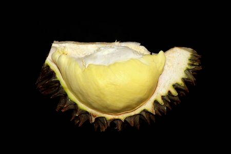 durian peeled or durian  is king of fruits isolated on black background Stock Photo