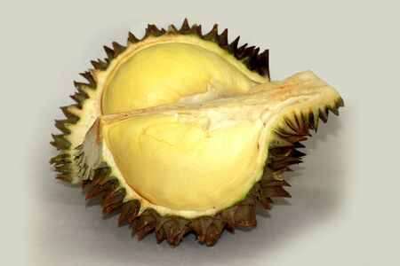 durian peeled or durian  is king of fruits isolated on white background Stock Photo