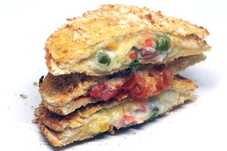 Homemade Toasted Sandwich on white background Zdjęcie Seryjne