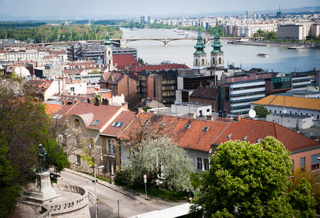 Budapest, aerial view with Danube river photo