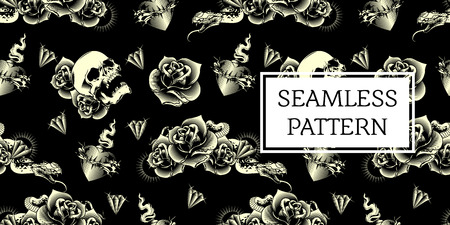 skull rose snake tattoo seamless pattern