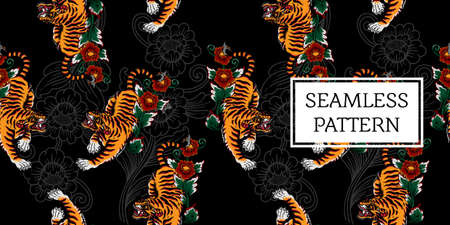 traditional balinese tiger seamless pattern
