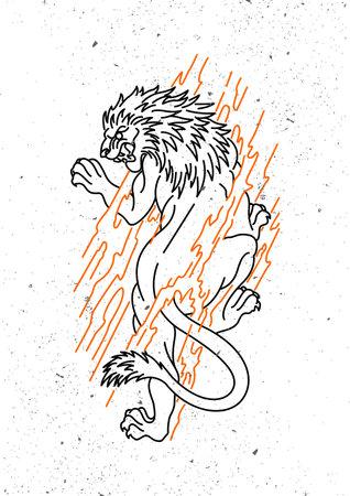 tiger monoline design vintage