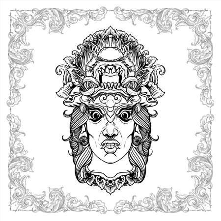 balinese demon mask hand drawn decorative vintage design