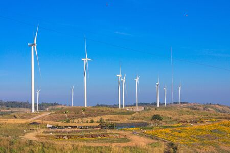 Wind turbines. Wind power generators. Alternative energy, reduce global warming. Reduce insufficient energy problems.