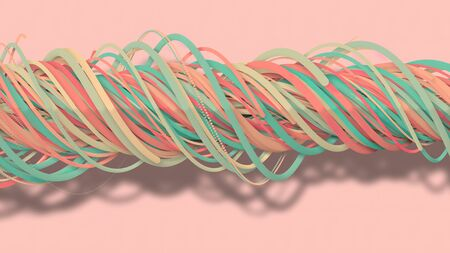 3D illustration,3D rendering, abstract geometric background, lines The circle points are very close together. Until seeing a free curve Many lines that rotate together into a rope. Light pink tone
