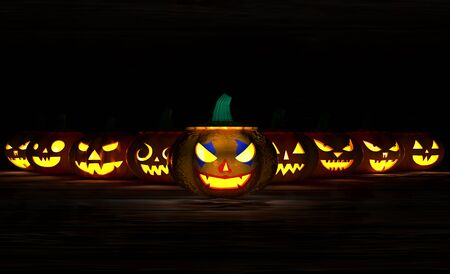 3D illustration, 3D rendering, The head of many scary devil pumpkins Stock fotó
