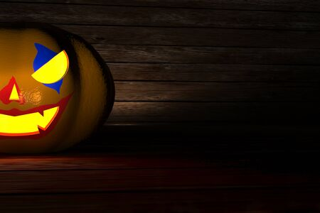 3D illustration, 3D rendering, The head of a scary demon pumpkin on the floor and wooden wall