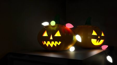 3D illustration, 3D rendering, The head of a scary demon pumpkin Decorated with lights on a wooden table Stock fotó