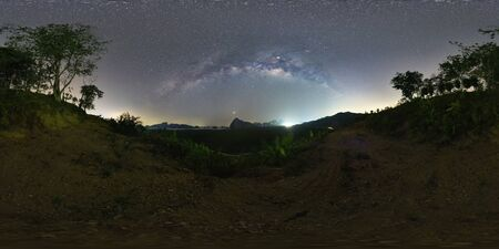 VR360 degree The Milky Way over the mountain in sea - Samed Nang Nee, Phang Nga Province, Thailand
